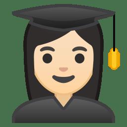 Woman student light skin tone icon