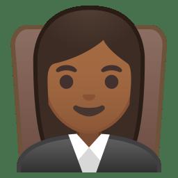 Woman judge medium dark skin tone icon