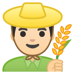 Man farmer light skin tone icon
