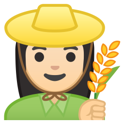Woman farmer light skin tone icon