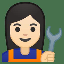 Woman mechanic light skin tone icon