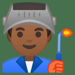 Man factory worker medium dark skin tone icon