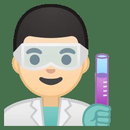 Man scientist light skin tone icon