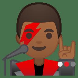 Man singer medium dark skin tone icon