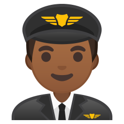 Man pilot medium dark skin tone icon