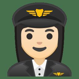 Woman pilot light skin tone icon