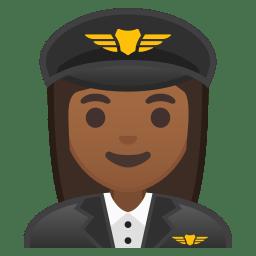 Woman pilot medium dark skin tone icon