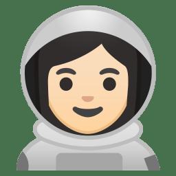 Woman astronaut light skin tone icon