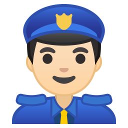 Man police officer light skin tone icon