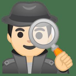 Man detective light skin tone icon