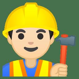 Man construction worker light skin tone icon