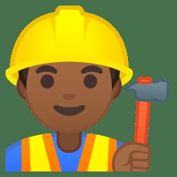 Man construction worker medium dark skin tone icon