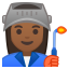 Woman factory worker medium dark skin tone icon