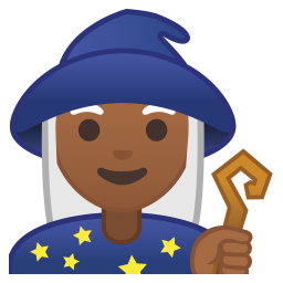 Woman mage medium dark skin tone icon