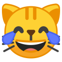 Cat face with tears of joy icon