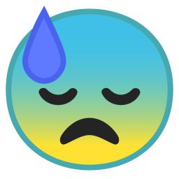 Downcast face with sweat icon
