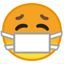 Face with medical mask icon