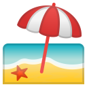 Beach with umbrella icon