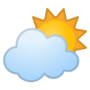 Sun behind cloud icon