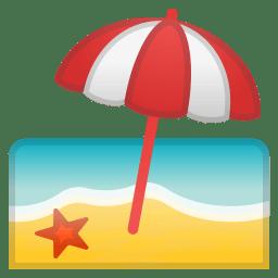Beach with umbrella icon