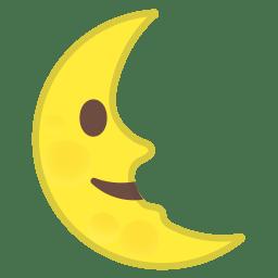 Last quarter moon face icon