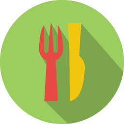 Restaurant Icon Colorful Long Shadow Iconset Graphicloads