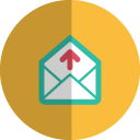Mail upload folded icon
