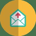 Mail upload folded icon