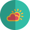 Sun cloudy folded icon