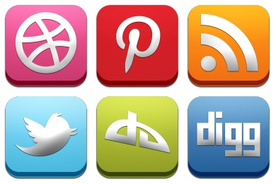 Classic 3D Social Icons