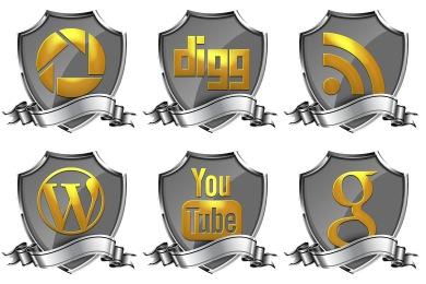 Shield Badge Social Icons