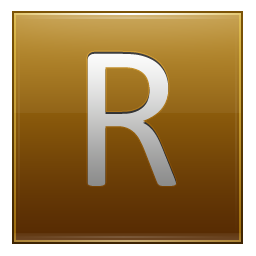 Letter R gold icon