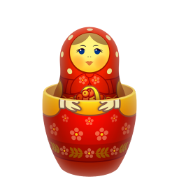 Red matreshka inside icon icon