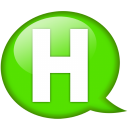 Speech balloon green h icon