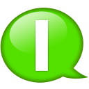 Speech balloon green i icon