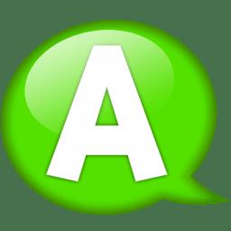 Speech balloon green a icon