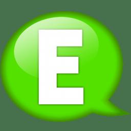 Speech balloon green e icon