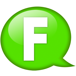 Speech balloon green f icon