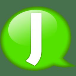 Speech balloon green j icon