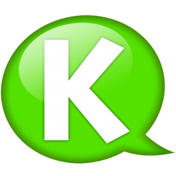 Speech balloon green k icon