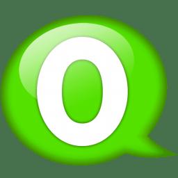 Speech balloon green o icon