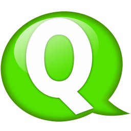 Speech balloon green q icon