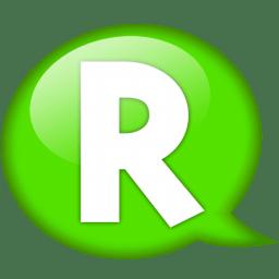 Speech balloon green r icon