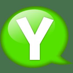 Speech balloon green y icon