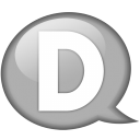 Speech balloon white d icon