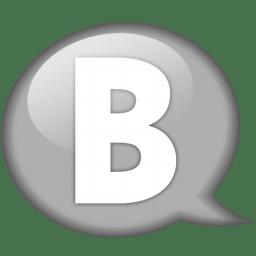 Speech balloon white b icon