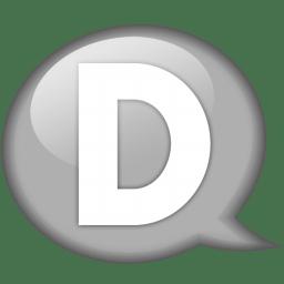 Speech balloon white d icon