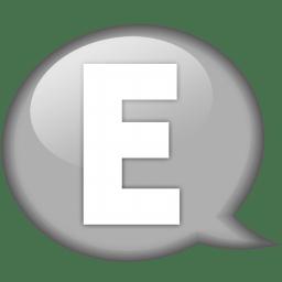 Speech balloon white e icon