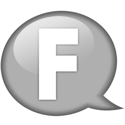 Speech balloon white f icon