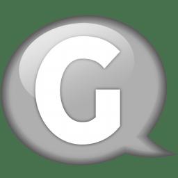 Speech balloon white g icon
